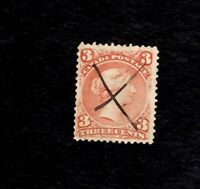 CANADA, Scott# 25, 3c Victoria, 1852-7 Used F-VF Red