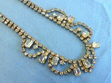 "Signed La Roco As Is Clear Rhinestone Necklace Vintage 15.5"" Long Missing Stones"