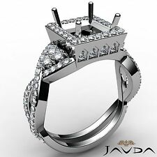 Cross Shank Princess Cut Halo Diamond Engagement 1.65Ct Ring Semi Mount Platinum
