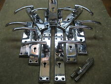 6 Pairs of original Reclaimed Chrome Yale 40`s -  50`s Door Handles 0226