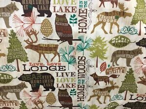 """CAMPER MOOSE BEAR OWL HUNTER LODGE LAKE NATURE LIVE Cotton fabric, 44""""w, BTY"""