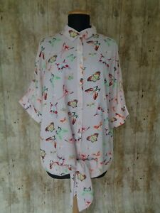 Bodyflirt @ Bonprix Pale Pink Butterfly Print Tie Blouse Top Size 8