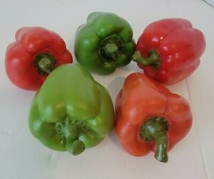 Faux fake Red and Green Bell Peppers realistic