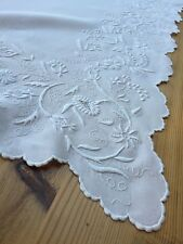 Top Quality Antique Victorian Whitework Linen Tablecloth Hand Embroidery Floral