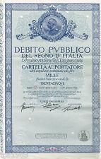 Debito Pubblico Del Regno D' ITALIA / ITALY Certificate/Bond: L1000, 1,000?Lira