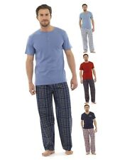 Mens Long Pyjamas 2 Piece Set Short Sleeved Nightwear Gents Boys Pjs Size S-XXL