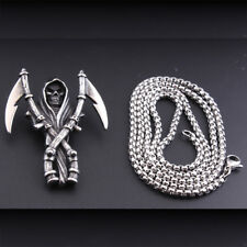 Large Saint Death Santa Muerte Men Stainless Steel Pendant Vintage Necklace Gift