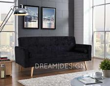 Modern Crushed Velvet Fabric Padded Sofabed 3 Seater Suite With 2 Cushions New