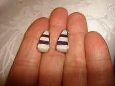 Vintage Collectible 14K Solid Yellow Gold Inlay Opal Purple Stones Earrings