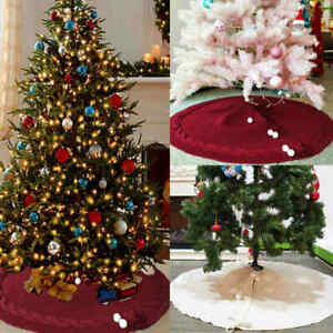 120cm Christmas Tree Skirt Knitted Tree Stand Wine Red White Xmas Floor Decor