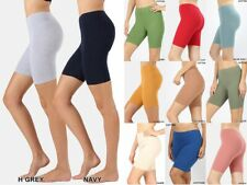 PREMIUM COTTON SPANDEX BIKER FITNESS YOGA LEGGINGS BERMUDA SHORTS REG PLUS S-3X