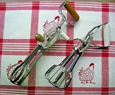Vintage Lot Of 2 Manual Rotary Egg Beaters/Mixers EKCO White Hdl & A&J Wood Hdl
