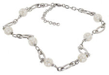 """Stainless Steel Mosaic Mother-of-Pearl 20"""" Inch + Ext Beaded Necklace"""