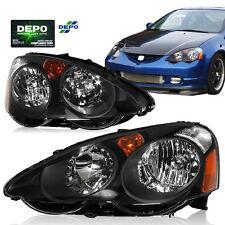 02-04 Acura RSX Headlights Pair Black Housing DEPO