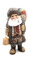 "10.25"" Russian SANTA Wood Hand Carved Hand Painted Father Frost Unique Art Craft"
