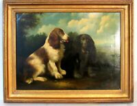 OLD FINE LANDSCAPE SCENE WITH 2 DOGS  OIL PAINTING ON CANVAS