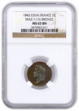 1842 Essai France 2 Centimes Maz-116 Bronze | NGC MS65 BN SKU39253