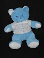 Peluche doudou ours bleu MUSTELA MUSTI tee shirt blanc 25 cm TTBE
