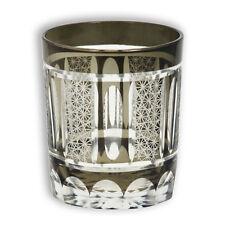 Japanese Collectible Edo-Kiriko (Cut Glass) Black Shimmering Glass Tea Sake Cup
