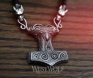 Viking Raven Hammer Scania Mjolnir Pendant + Braided Leather Wolf Head Necklace