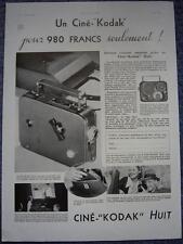 Publicité de presse Camera Cine KODAK Huit French Ad 1934