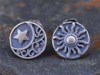 Silber Ohrstecker Sonne Mond Stern Rund Vintage Geschwärzt Damen 925 Ohrringe