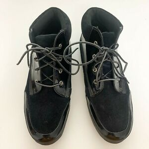 Timberland Women's Lounger Chukka Suede Patent Leather Ankle Boot Size 9