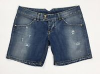 Up jeans shorts w30 tg 44 vita bassa jeans mom hot corti sexy strappi blu T2722