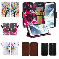 Samsung Galaxy Note 2 Wallet Case Wrist Strap Pu Leather Wallet Case Cover