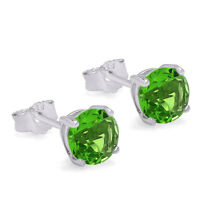 AUGUST BIRTHSTONE SIMULATED PERIDOT CZ SOLITAIRE STUD EARRINGS STERLING SILVER