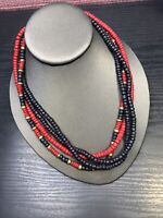 Vintage Multi Strand Red Black Gold Wood  Beaded Bohemian Necklace 18""