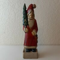 Rustic Christmas Santa in Red Suite Hand Carved Wooden Tall Ole Stain Nick Decor