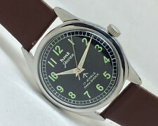 VINTAGE HMT JAWAN PARASHOCK 17 JEWELS BLACK MILITARY DIAL MEN INDIAN WRIST WATCH