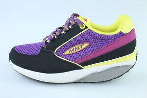 scarpe donna MBT 35 sneakers viola giallo pelle nabuk tessuto Dynamic DR138