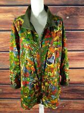 Safari Jacket Parka Bright Colorful Rain forest Print Woman size Large