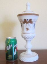 Westmoreland Milk Glass, 12 1/2 inch Urn with Lid - Gold Designs with Grapes