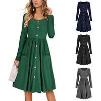 EG_ Women's Long Sleeve O Neck Casual Button Down Swing Dress with Pockets Splen
