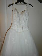David's Bridal Michaelangelo Wedding Dress Gown SIZE M $200 IN EXTRAS FREE SHIP