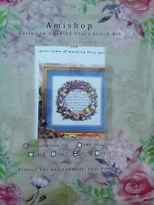 AMISHOP GOLD COLLECTION BEAUTIFUL FAMILY WREATH cross stitch Kit 14ct Size 28...