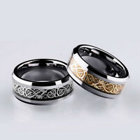 Fashion Men Silver Celtic Dragon Titanium Stainless Steel Wedding Band Rings
