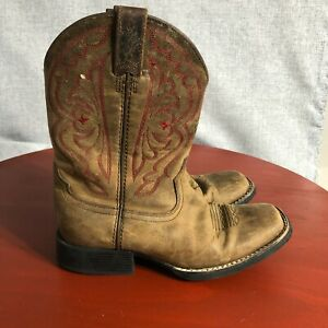 Ariat Quickdraw Youth Kids Size 2.5 Shoes Brown Red Leather Western Cowboy Boots