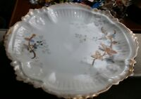 Vintage LIMOGES FRANCE PLATE, WHITE WITH BLUE LEAVES, GOLD PAINT HIGHLIGHTS