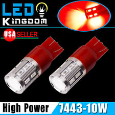 2x High Power 10W Red LED Brake Tail High Mount Stop Light Bulb 7443 7440 7444NA