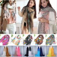 Women Pashmina Soft Silk Chiffon Neck Wrap Shawl Scarf Long Voile Stole Scarves