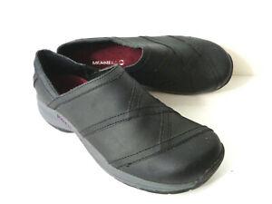 Merrell Noir Jovilee Lattice Cuir à Enfiler Mocs Chaussures Femme US 8.5M