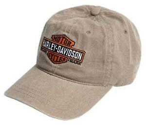 Harley-Davidson Men's Elongated B&S Curved Bill Adjustable Washed Baseball Cap