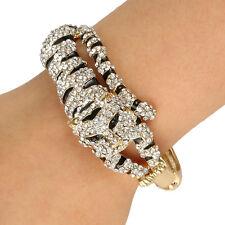 Animal Tiger Bangle Cuff Clear Austrian Crystal Enamel Gold Tone Bracelet Gift