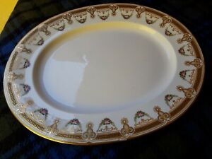 Rare Vintage Porcelain Serving Platter white with gold and pink flowers 3650