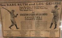 Babe Ruth & Lou Gehrig Barnstorming Advertisement 🔥🔥RARE🔥🔥 1927 - RARE 11x17