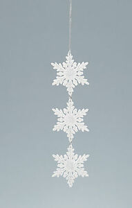 3 x White Glitter Snowflake Christmas Hanging Tree Decoration CHEAP CLEARANCE